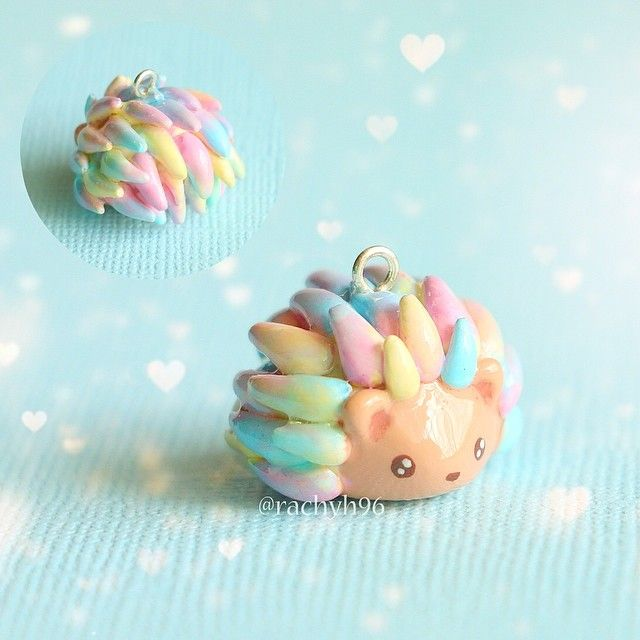 """Hi everyone! Here is another one of my """"watercolour"""" hedgehog charms! The colours on this one are inspired by baby or pastel colours ✨❄ Hope you like it! ✌ #polymerclay #polymer #clay #cute #kawaii #hedgehog #craft #art #handmade #sculpey #fimo #premo #polymerclaycharms"""