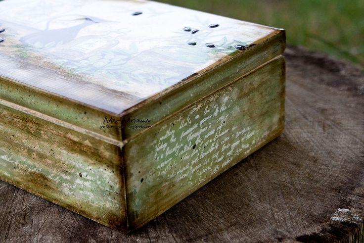 decoupage, decoupaj, pudełko na herbatę, 6, kuchnia, oliwki, oliwkowy ,