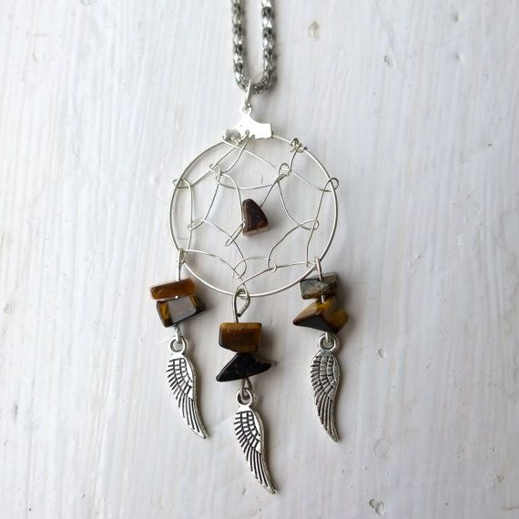 ♥ Dreamcatcher Necklace with Tigers Eye Gemstones and silver feather charms  ♥ In Native American culture it is believed that a dream catcher