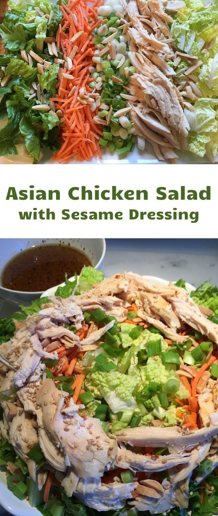 Asian Chicken Salad with Sesame Dressing - @JustSavorIt