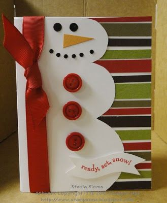 Sweet Snowman Card...with buttons & bow...Stampin' & Scrappin' with Stasia.