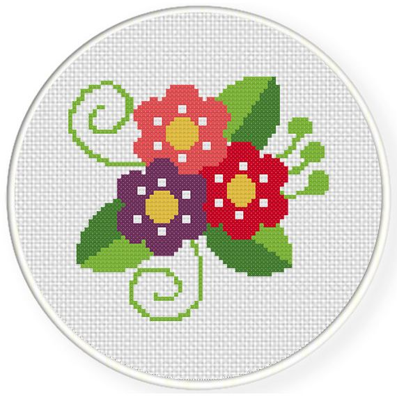 Charts Club Members Only: Pretty Flowers Cross Stitch Pattern