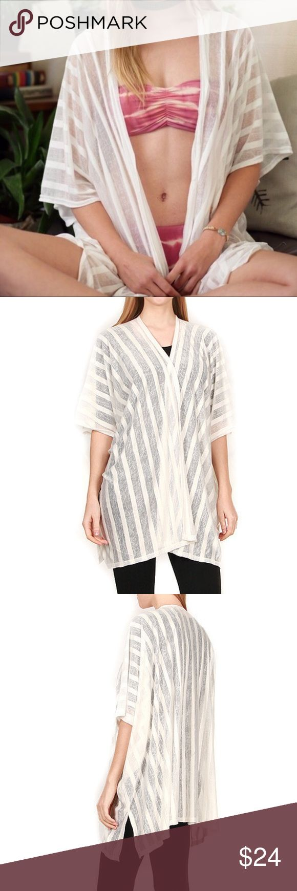 White Stripe Transparent Kimono Vest One size ! Material : soft jersey feel like ! Available in 2 colors : White and Black ! Very cool piece for summer ! Swim Coverups