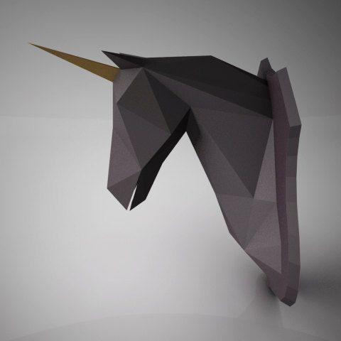 DIY PAPER SCULPTURES - Dreamy Unicorn Horse Head Trophy Template