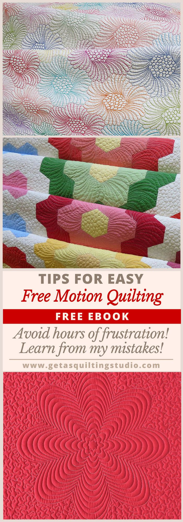 PRACTICE is not the only key to successful free motion quilting! Click through to download a free ebook with lots of tips for easy free motion quilting.