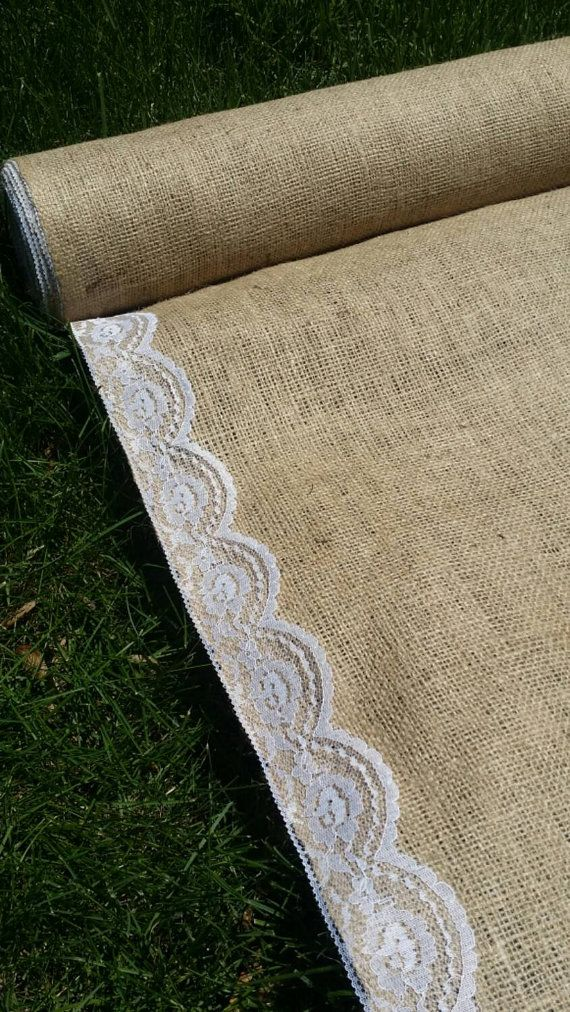Hey, I found this really awesome Etsy listing at https://www.etsy.com/listing/237102631/sale-burlap-aisle-runner-with-lace-trim