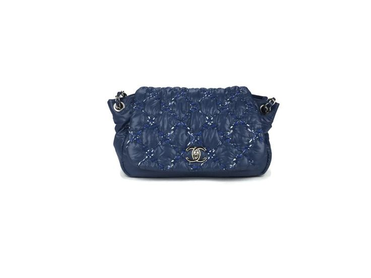 Chanel Nylon Quilted Tweed Stitch Bubble Flap Bag