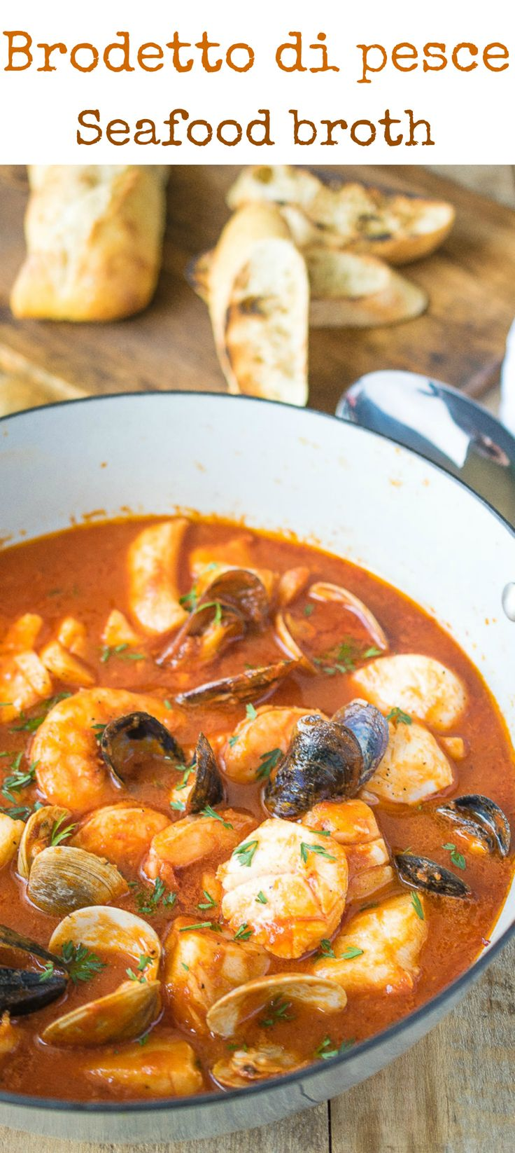 Brodetto di pesce (seafood broth) is an authentic, Italian seafood dish. A delicious selection of seafood cooked in a tomato broth flavored with wine and garlic. It's comfort food for seafood lovers. #perfectionissimple #ad