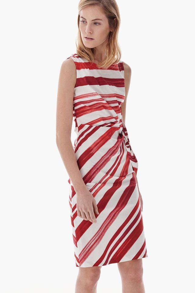 Vestido tubo rojo con rayas