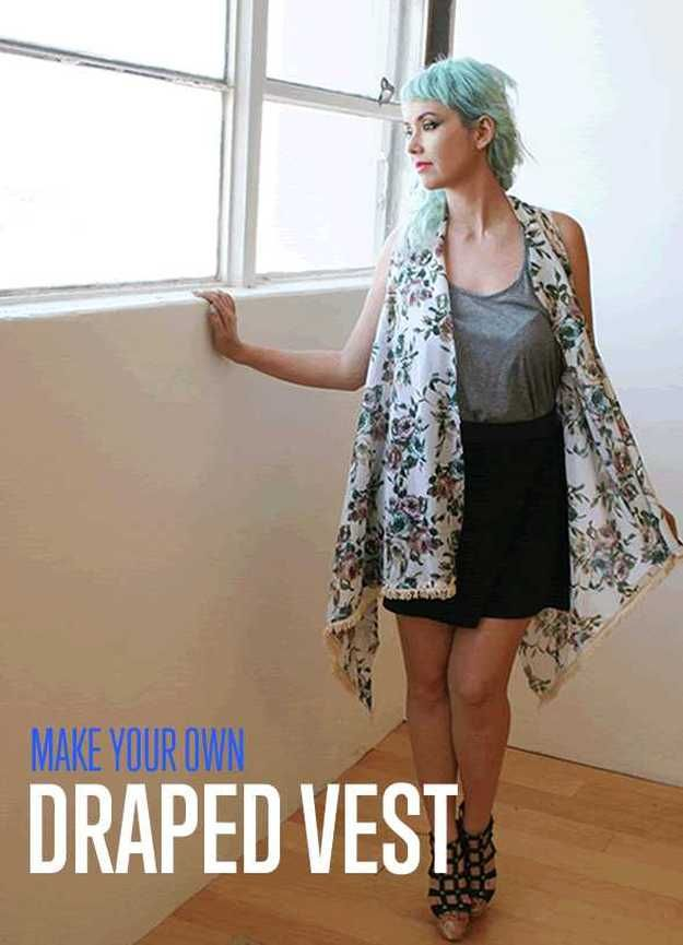 Check out The Simple No-Sew Draped Vest   Best of Fall Fashion Trends at http://diyready.com/no-sew-draped-vest-best-of-fall-fashion-trends/