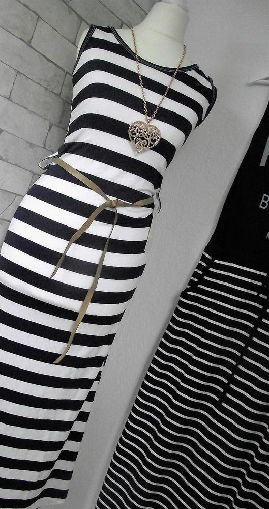 NEU Maxi-Kleid MARINE schwarz-weiß ITALY gestreift MARITIM 36 S