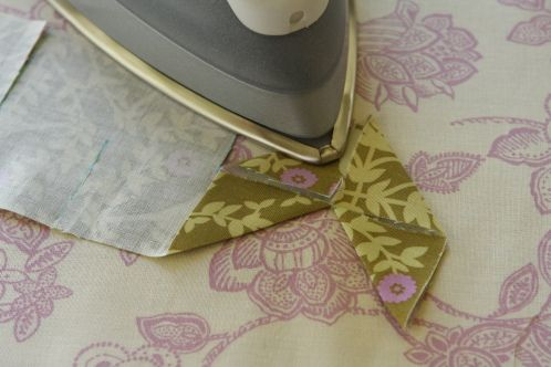 """3"""" strip w/ 1.5"""" cuts staggered every 1.5"""" - iron and topstitch on to create chevron design"""