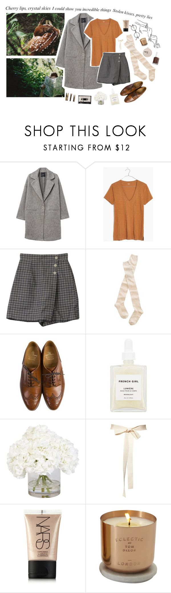"""stolen kisses."" by emma-dreams ❤ liked on Polyvore featuring MANGO, Madewell, Off-White, Crockett & Jones, French Girl, Ethan Allen, Laundry, NARS Cosmetics, Essie and Eclectic by Tom Dixon"