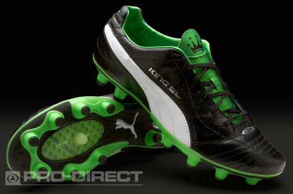 Puma Football Boots - Puma King Finale SL FG - Firm Ground - Soccer Cleats - Black-White-Fluorescent Green