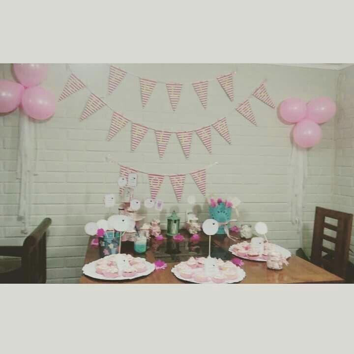 Decoracion para mi cumpleaños 23 vintage pop rosa hecha por mi
