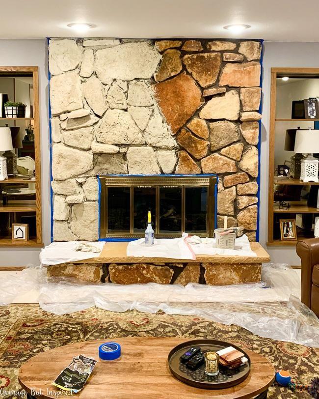 Limewash Stone Fireplace Makeover Bye Bye Orange Stone Fireplace