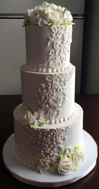 3 tier wedding cake with cascading roses 29 best images about wedding cakes with scrolls on 10341