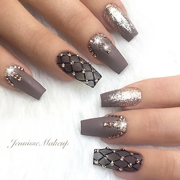 Repost Matte Brown Coffin Nails With Glitter And Crystals Picture And Nail Design By Je Nail Designs Glitter Nail Designs Trendy Nails