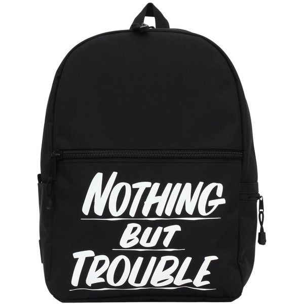 Nothing But Trouble Black Backpack ($60) ❤ liked on Polyvore featuring bags, backpacks, black knapsack, black backpack, camo backpack, knapsack bags and camouflage backpack
