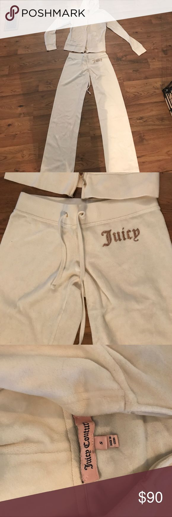 Juicy Couture sweatsuit off white off white Juicy Couture sweatsuit. bottoms size XS zip up size S. gold and bronze design. perfect condition Juicy Couture Other