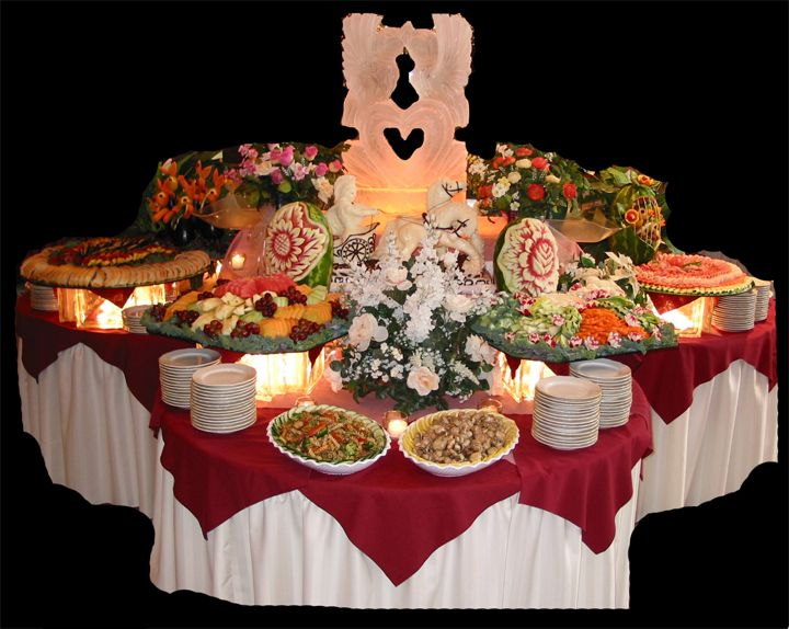 Buffet Table::::four Round Tables With A Glass Top To Make Room For More  Food And Layer The Look