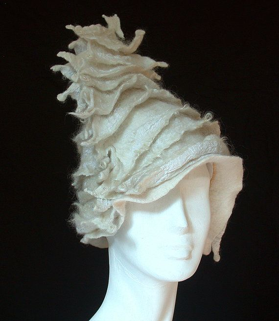 This one has really struck a chord!  White Felt Hat  Ruffled Seashell Bicorne by FeltHappiness, £130.00
