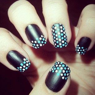black nails w/ white & light blue polka dot tips