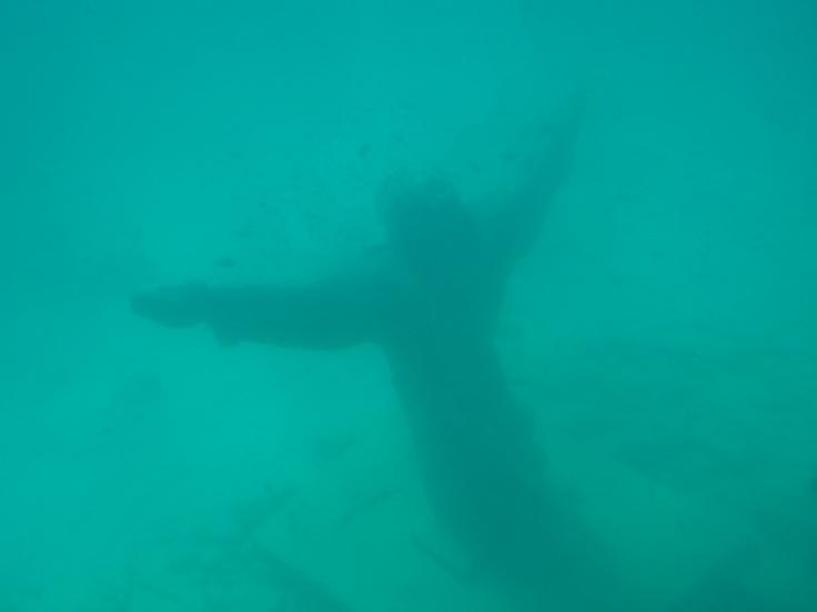 Statue of Jesus underwater at Sal, Cape Verde photo by Stella Harpley