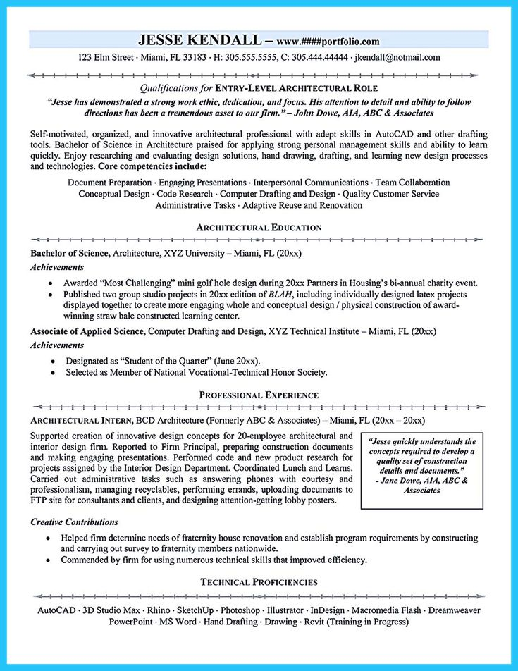 Architectural drafting resume examples