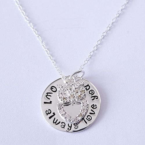 308602 Sterling Silver Owl Always Love You Necklace