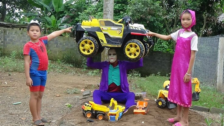 Bad Baby Spiderman, Elsa and Masha Joker Thief Backhoe Loader, Truck, Cr...