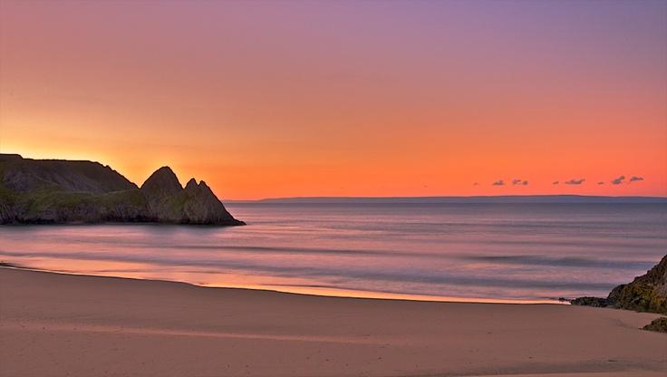 Dawn at Three Cliffs Bay, Gower, Swansea. Wales
