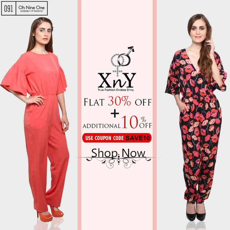 Get 30% Flat + Additional 10% off on End of Season Sale on Stylish Jumpsuits by XnY. Valid till 31st of July.  Keep Shopping! Happy Shopping!! Use coupon code - SAVE10 Buy @http://goo.gl/EC2WPm  Free Shipping, Only on Prepaid Orders, 7 Days return only