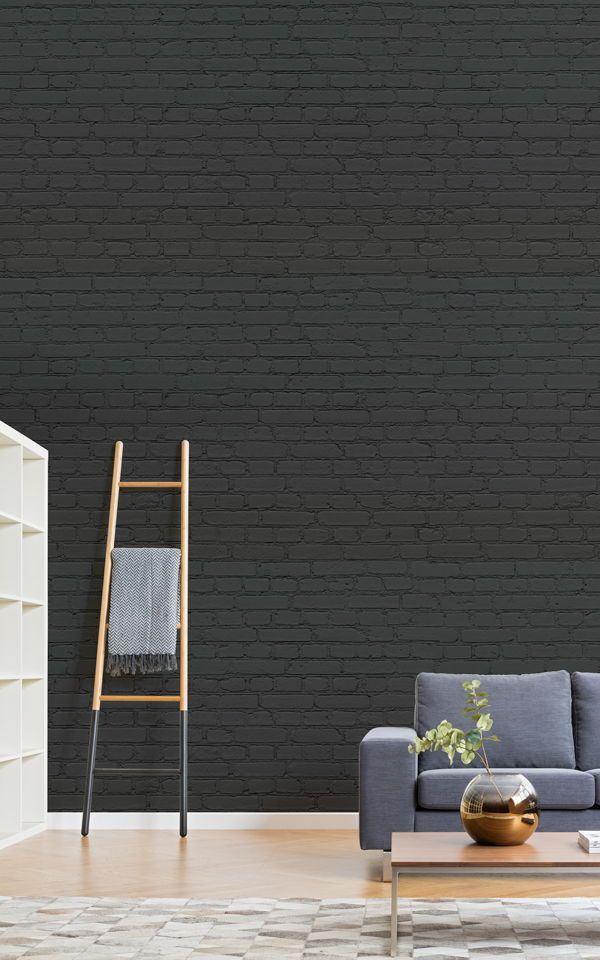 Urban Chic Carta Da Parati Industrial Chic.Carta Da Parati Murale Con Mattoni Neri In 2019 Brick Effect