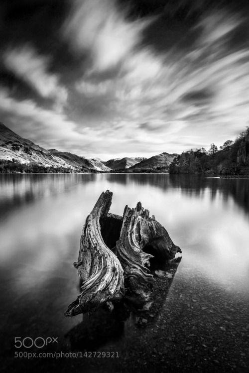 Stump by Nigeve1  England Long exposure Black and white Monochrome Cumbria Mono Ullswater Stump Penrith Lake district