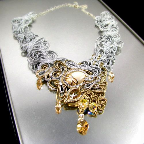 Soutache Statement bridal necklace wedding fashion jewelry handcrafted