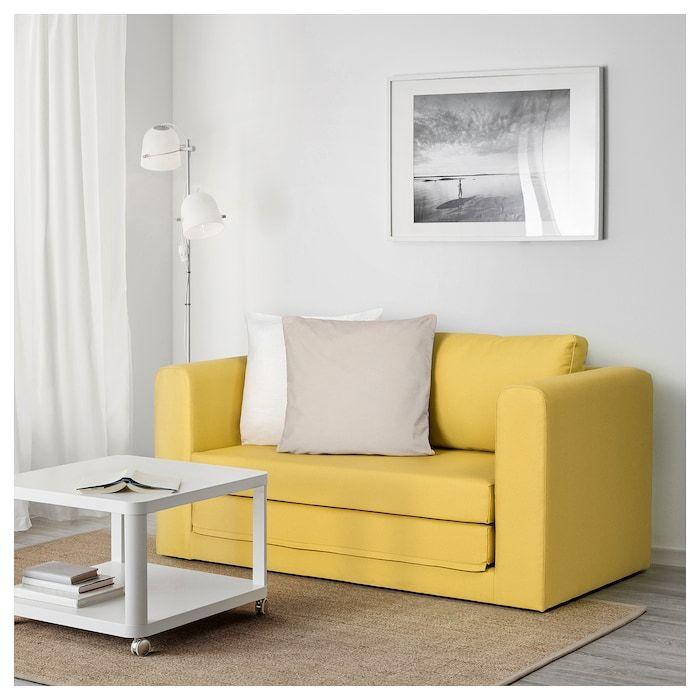 Askeby Grasbo Golden Yellow 2 Seat Sofa Bed Ikea Sofas For Small Spaces Sofa Bed Ikea Sofa Bed
