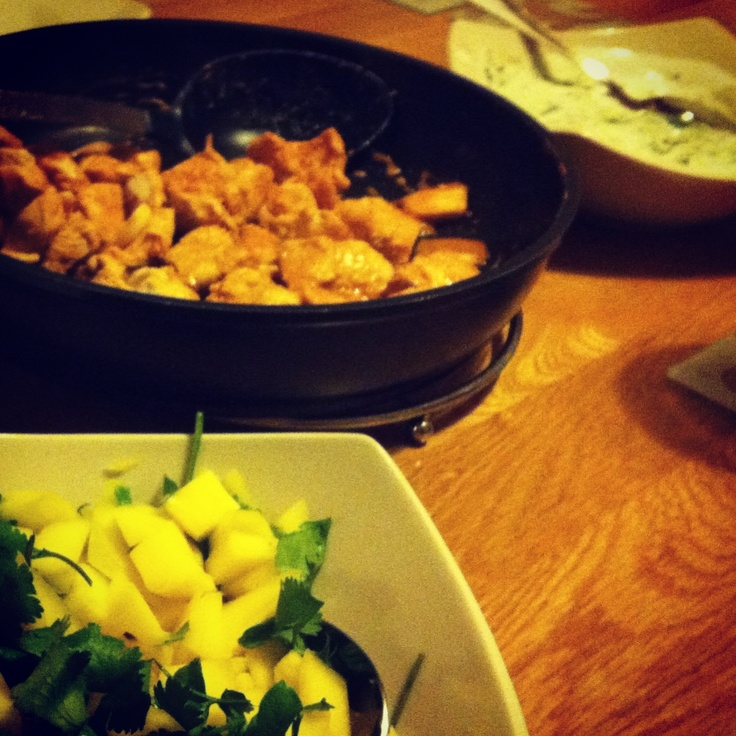 Tandoori chicken wraps with cucumber raita & mango salsa - Lorraine Pascale recipe