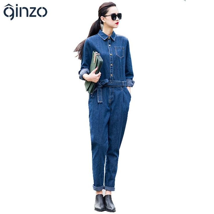 Women's full sleeve casual loose denim jumpsuits Lady's fashion blue overalls with sashes Free shipping