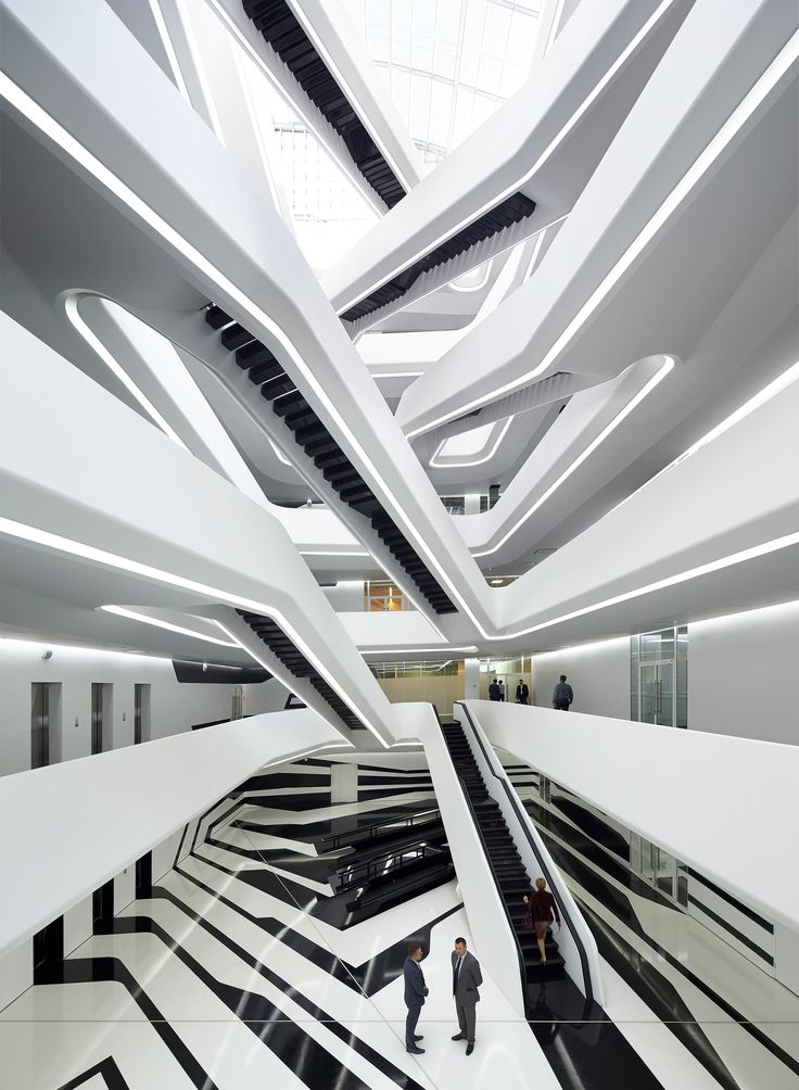 Gallery - Dominion Office Building / Zaha Hadid Architects - 1 I'm not sure what concept is used here, but I do enjoy how the different levels look and overlap one another. I also really like how the white and black colors add depth