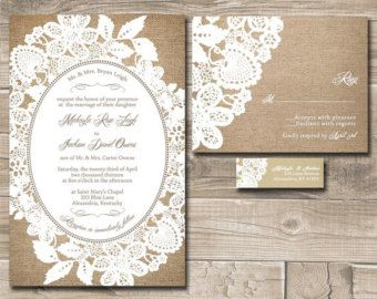RUSTIC WEDDING INVITATION suite with burlap by DesignedWithAmore