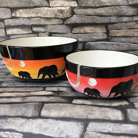 Yarn bowl hand painted elephant gifts for her knit