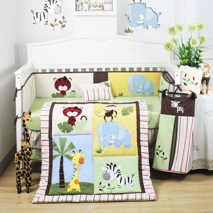 8pc Baby Cot Bedding Quilt Set With Safari Animals Kids