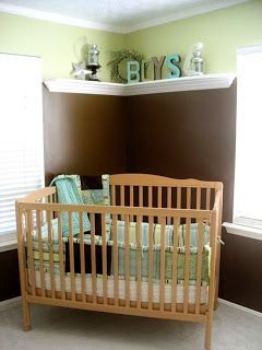 Crown molding shelves give this nursery a decorative feel with a classic and decorative look. http://www.udecor.com/