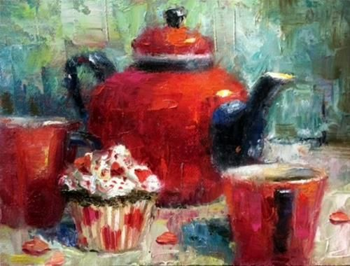 "Daily+Paintworks+-+""Tea+for+Two+-+Valentine""+-+Original+Fine+Art+for+Sale+-+©+Julie+Ford+Oliver"