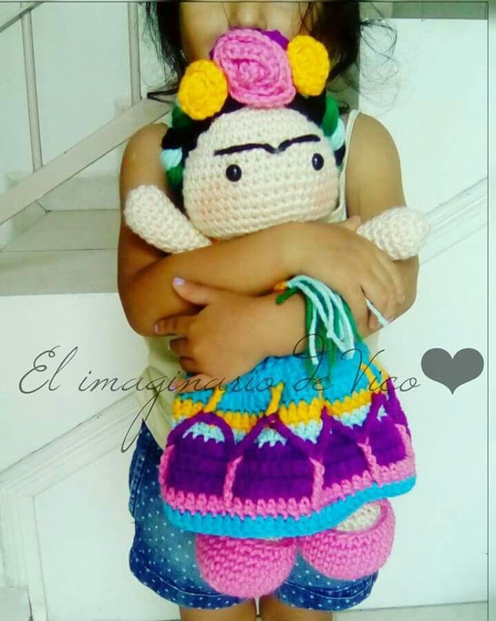 Frida Kahlo amigurumi crochet doll