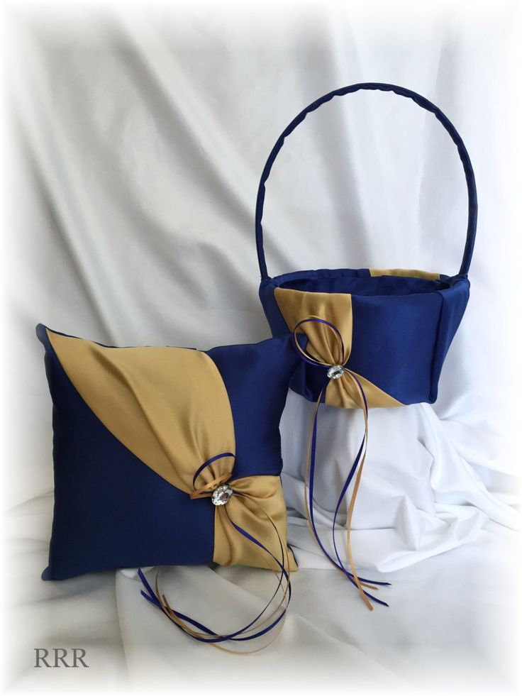 Royal Blue and Gold Wedding Ring Pillow and Flower Girl Basket, Blue Wedding Pillow, Blue Gold Flower Basket by RammaRuRu on Etsy https://www.etsy.com/listing/275224294/royal-blue-and-gold-wedding-ring-pillow