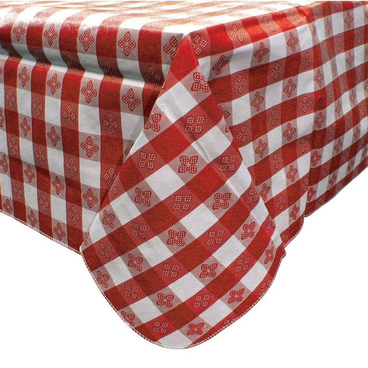 """52"""" x 52"""" Red Gingham Vinyl Table Cover with Flannel Back - $3.77 each for 12 or more - www.webstaurant.com"""