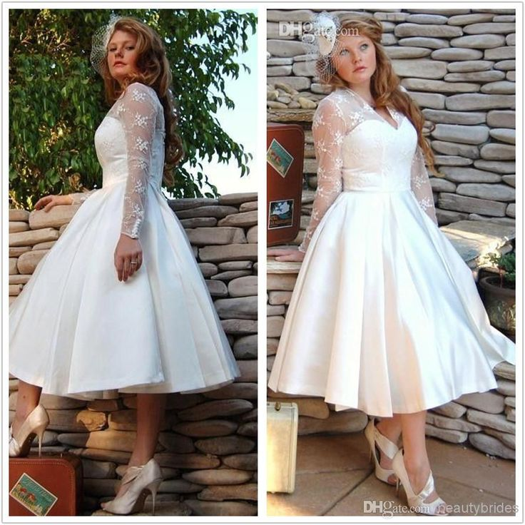 Sheer Garden V Neck Wedding Dresses Long Sleeves 2014 Tulle Stain Ball Gowns Lace Appliques Short Tea Length Bridal Dress