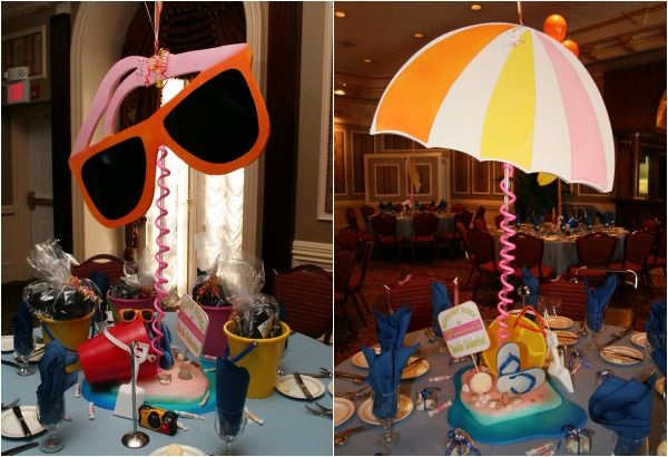 Summer beach theme bar bat mitzvah party ideas